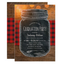 Rustic Graduation Party Unique Country Mason Jar Card