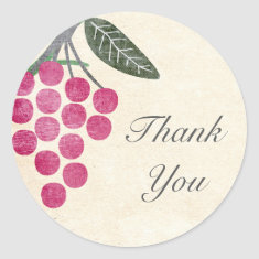 Rustic Grapes Thank You Stickers