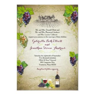 Rustic Grapevine Vineyard Wedding Event 5x7 Paper Invitation Card