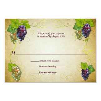 Rustic Grapevine Vineyard Wedding Event Reply RSVP 3.5x5 Paper Invitation Card