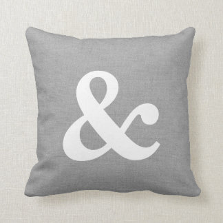 Rustic Gray Ampersand Throw Pillow