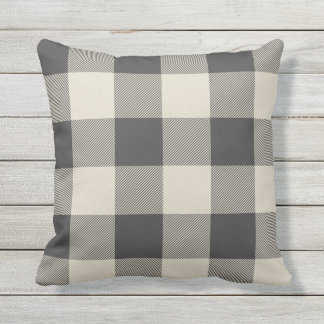 Rustic Gray and Beige Buffalo Check Plaid Outdoor Pillow