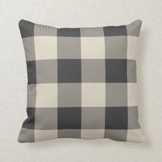 Rustic Gray and Beige Buffalo Check Plaid Throw Pillow