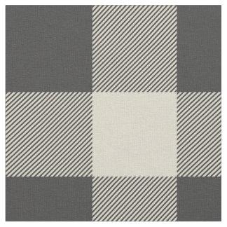 Rustic Gray and Beige Buffalo Plaid Fabric