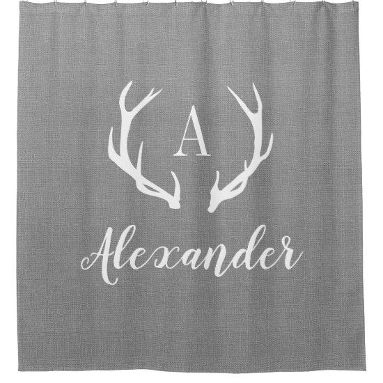 Rustic Gray Antler Monogram | Farmhouse Bathroom Shower Curtain