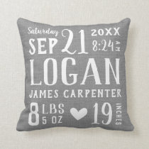 Rustic Gray Baby Birth Stats Nursery Pillow