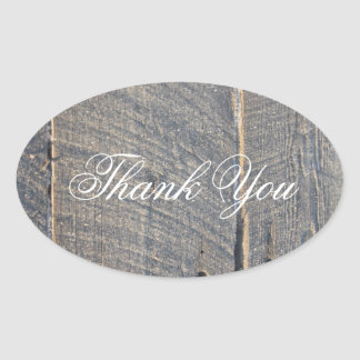 rustic gray barn wood country wedding thank you oval sticker
