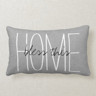 Rustic Gray Bless This Home Lumbar Pillow