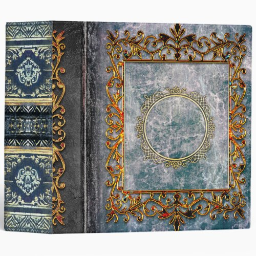 Rustic Gray Blue Celtic Ancient Tome 3 Ring Binder