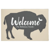 Rustic Gray Buffalo Bison & Family Name Welcome Doormat