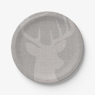 Rustic Gray Burlap Deer Buck Paper Plate