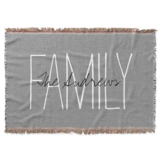 Rustic Gray Chic Family Monogram Throw Blanket