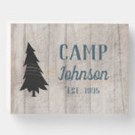 Rustic Gray Family Camp Wooden Box Sign