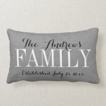 Rustic Gray Family Monogram and Wedding Date Lumbar Pillow