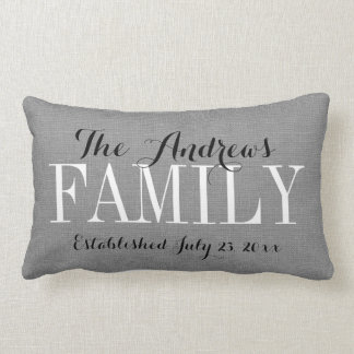 Rustic Gray Family Monogram and Wedding Date Lumbar Pillow