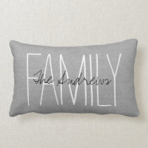 Rustic Gray Family Monogram Lumbar Pillow