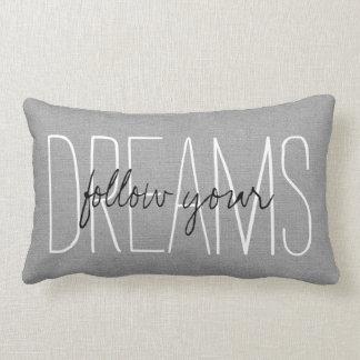 Rustic Gray Follow Your Dreams Throw Pillows