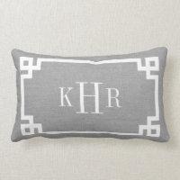 Rustic Gray Greek Key Border Custom Monogram Lumbar Pillow