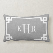 Rustic Gray Greek Key Border Custom Monogram Lumbar Pillow