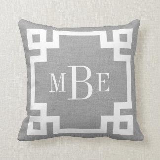 Rustic Gray Greek Key Border Custom Monogram Throw Pillow