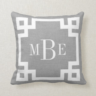 Rustic Gray Greek Key Border Custom Monogram Throw Pillow