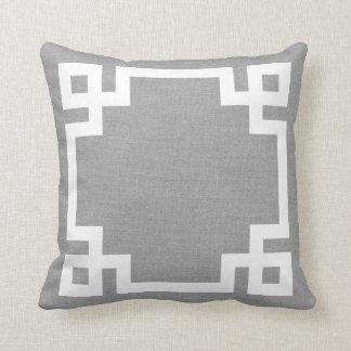 Rustic Gray Greek Key Border Throw Pillow