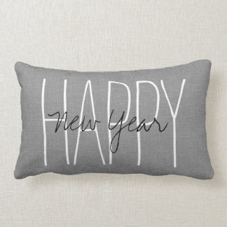 Rustic Gray Happy New Year Lumbar Pillow