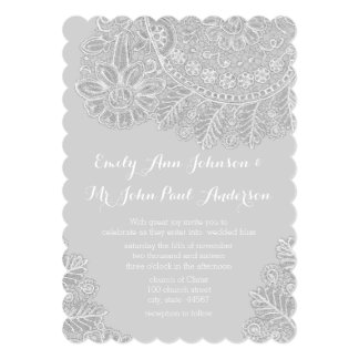 Rustic Gray Heirloom Lace Wedding Invitations