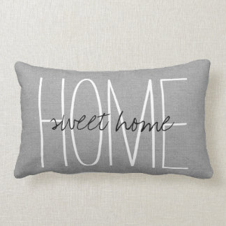 Rustic Gray Home Sweet Home Lumbar Pillow