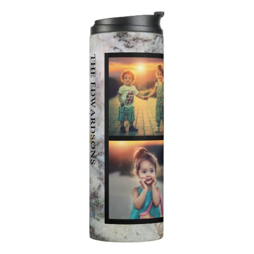 Rustic gray marble family photo collage monogram thermal tumbler
