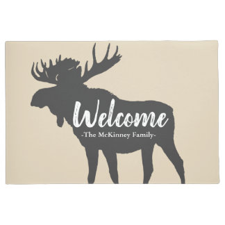 Rustic Gray Moose Silhouette & Family Name Welcome Doormat