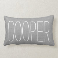 Rustic Gray Name Monogram Lumbar Pillow