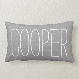 Rustic Gray Name Monogram Lumbar Pillow