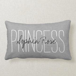 Rustic Gray Princess Monogram Pillow