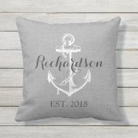 Rustic Gray Vintage Anchor Wedding Monogram Outdoor Pillow