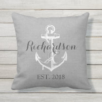 Rustic Gray Vintage Anchor Wedding Monogram Outdoor Pillow