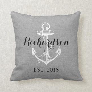 Rustic Gray Vintage Anchor Wedding Monogram Throw Pillow