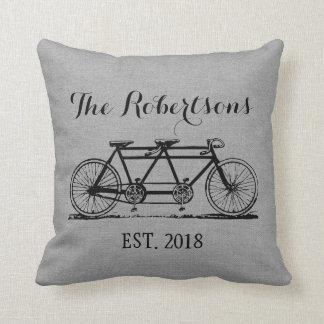 Rustic Gray Vintage Bicycle Wedding Monogram Pillow