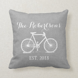 Rustic Gray Vintage Bicycle Wedding Monogram Throw Pillow