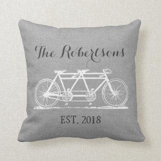 Rustic Gray Vintage Bicycle Wedding Monogram Throw Pillow