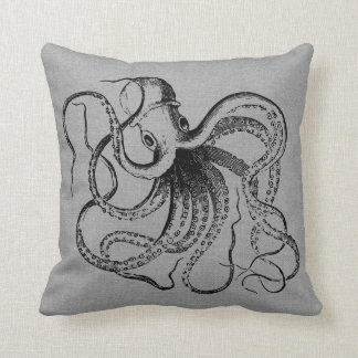 Rustic Gray Vintage Octopus Illustration Throw Pillow