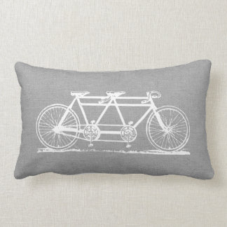 Rustic Gray Vintage Tandem Bicycle Throw Pillow
