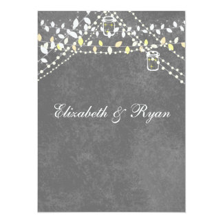 "Rustic Gray with String Lights  Wedding Invitation 5.5"" X 7.5"" Invitation Card"