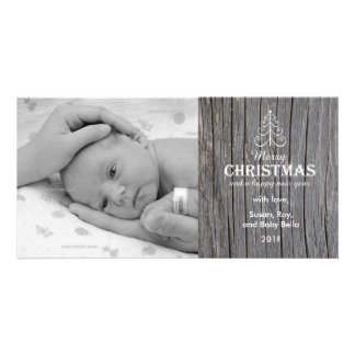Rustic Gray Wood Christmas Tree photo card