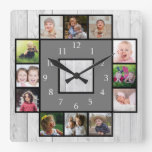 Rustic Gray Wood Create Your Own 12 Photo Collage Square Wall Clock