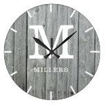 Rustic Gray Wood Farmhouse Monogram Name Large Clock