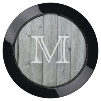Rustic Gray Wood Monogrammed USB Charging Station