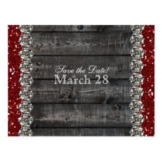 Rustic Gray Wood Rhinestone Save the Date Postcard