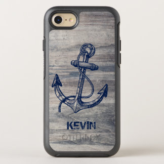 Rustic Gray Wood Texture Midnight Blue Boat Anchor OtterBox Symmetry iPhone 7 Case