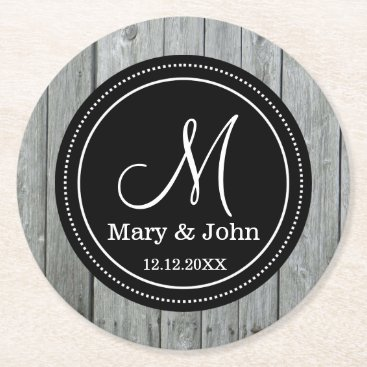 Bride Themed Rustic Gray Wood Wedding Monogrammed Round Paper Coaster